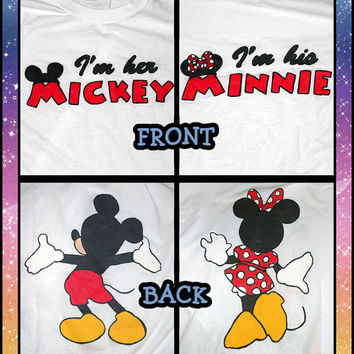 His & Hers - I'm Her Mickey I'm His Minnie with Character Back Disney Couples Shirts