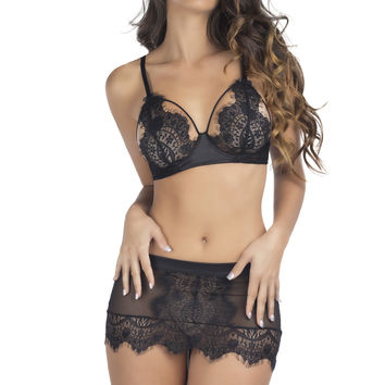 Oh la la Cheri Eyelash Lace Skirtini Black