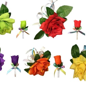 Corsage and Boutonniere Set: Artificial Roses with Rainbow Ribbon *Pick Rose Color*