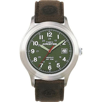 Timex Expedition&reg Metal Field Full-Size Watch - Olive Dial/Brown Leather