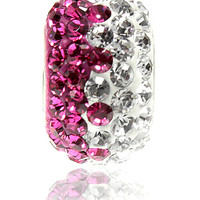 Pink and White Crystal Wave Bead For European Charm Bracelets