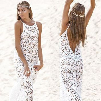Women Summer Maxi Dress 2018 Female Backless Bohemian Hippie Long White Beach Dress hollow out Lace Gown Rend Worldshine Frock