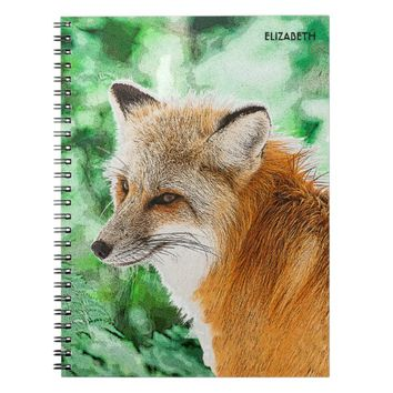Cute Wild Red Fox Drawing Spiral Notebook