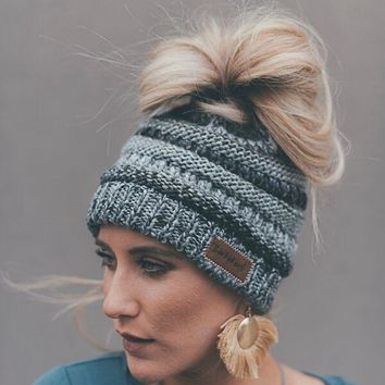 Messy Bun Beanie Knitted Hat - Gray Multi