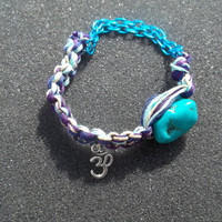 Om Hemp and Chain Turquoise Nugget Macrame Friendship Bracelet - FREE SHIPPING