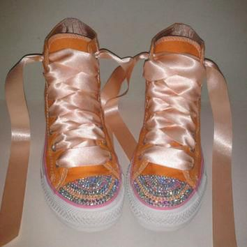 kids rainbow bling converse in your choice of color ribbon lace to match super cut