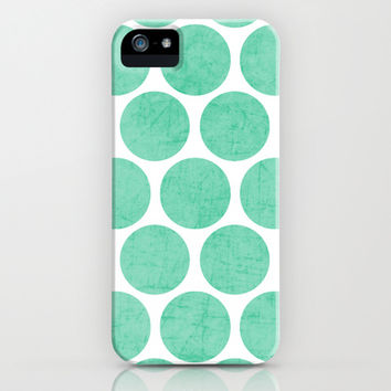mint polka dots iPhone & iPod Case by Her Art