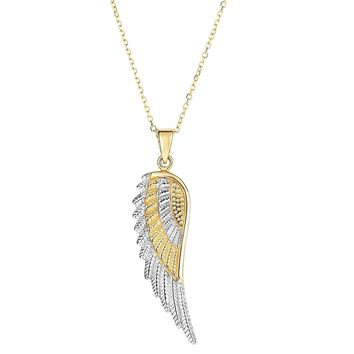 14k Yellow And White Gold Angel Wing Pendant Chain Necklace, 18""