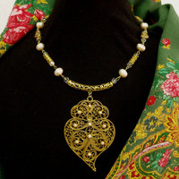 Heart of Viana filigree Pearls Portuguese necklace Portugal folk gold tone jewelry