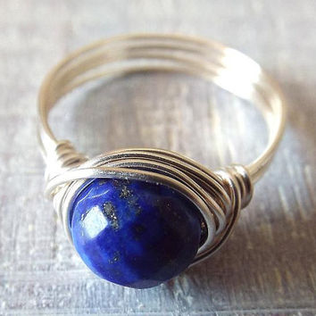 Lapis Lazuli Ring, Blue Stone Ring, Wire Wrapped Ring, Lapis Ring, Valentines Gift for Her, Royal Blue Ring, Stone Ring, Cute Ring, Unique