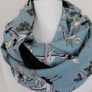 Bird Scarf Fall Winter Animal Scarf Holiday Christmas Gift For Her, For Mom, Birds, Bird Pattern Gift, Bird Print Scarf, Storks, Scarf Angel