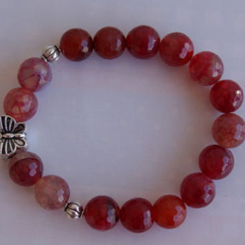 Red Czech Fire Polish Bead Bracelet. Picasso Finish. Faceted Bead Boho Bracelet. Stretch Bracelet.