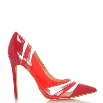 Shoe Republic LA Selma Transparent Cutout Pointy Toe Patent Pump - Red from Shoe Republic LA at ShopRoxx.com