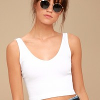 Free People Solid Rib White Cropped Tank Top