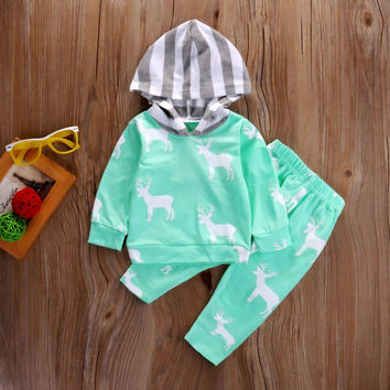 2 Pcs Newborn Kids Baby Girl Boy Deer Hooded Outfit Set Infant Babies Long Sleeve reindeer Hoodie+Pants Xmas Outfits Set Clothes