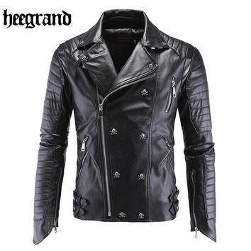 HEE GRAND 2017 New Male Pilot Leather Motorcycle Bomber Jacket Men Fashion PU Suede Outwear Chaqueta De Cuero M~5XL  MWP326