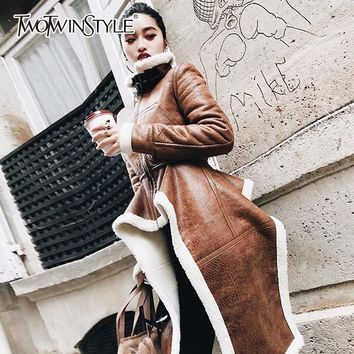 TWOTWINSTYLE Irregular Fleece Coats Pu Leather Turtleneck Zipper Midi Long Coat Winter Thick Female Large Size Tide Clothing