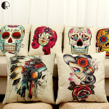 Halloween Mexican Sugar Skull Cushion (No inner) Decorative Throw Pillow Sofa Home Decor
