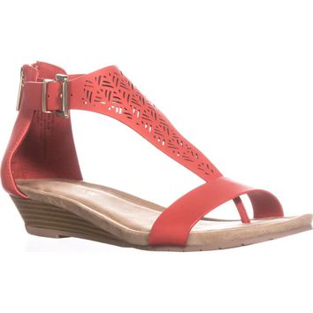 Kenneth Cole REACTION Great Gal 3 Wedge Sandals, Coral, 6.5 US / 37 EU