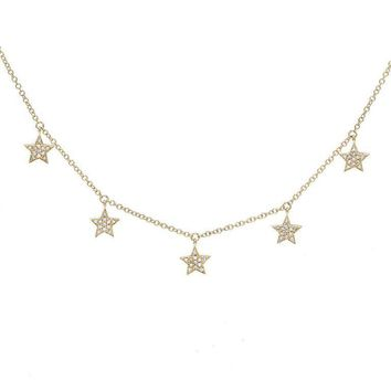 Five Dangling Diamond Star Necklace 14KT