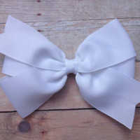 White Hair Bow, White Boutique Hair Bow, White Hair Clip, White Hairbow, Easter Hair Bow, White Bow, Easter Hair Clip
