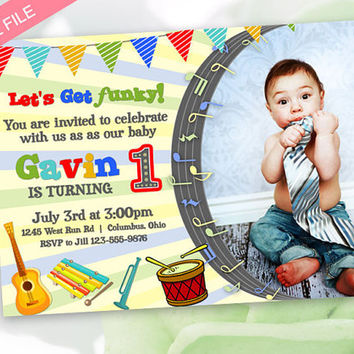 Music Inspired Birthday Guitar and Drums Invitation DIGITAL FILE - You Print DIY