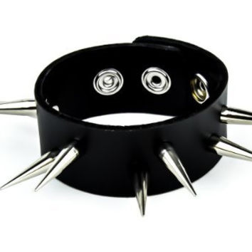 "2 Row Tall 1-1/2"" Spike Leather Wristband by Dysfunctional Doll Metal"