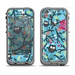 The Blue and Black Branches with Abstract Big Eyed Owls Apple iPhone 5c LifeProof Fre Case Skin Set