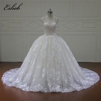 Eslieb Elegant Pearls High-end Ball Gown Wedding Dresses 2018 Vestido Noiva Simple Ivory Tulle Casamento Sashes Bridal Gown