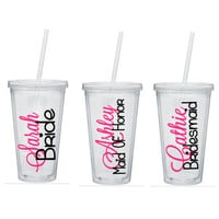 Bridesmaid TumblerS, Bridesmaid Tumbler, Bridal Party Tumblers, Custom Wedding Party Tumblers, Personalize Tumblers