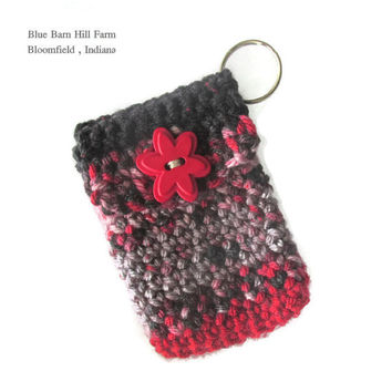 Keychain Pouch Hand crocheted in Red , Gray and Blacks with a Red Flower Button - Item #20151001
