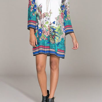 Eliza Bella for Flying Tomato Multi Color Print Off Shoulder Dress / Blouse SML