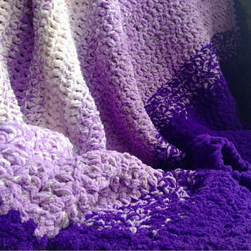 Crohet Afghans For Sale, Large Purple Crochet Blanket, Queen Size Crochet Afghan, Purple Ombre