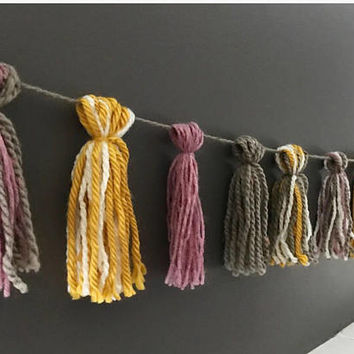 Fall Decor Yarn Tassel Garland