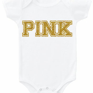 PINK graphic baby bodysuit or tee sparkle glitter choose color trendy girls infant newborn toddler shirt gold silver hipster Onesuit top