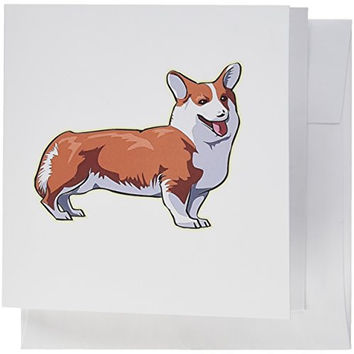 3dRose Cute and Cuddly Canine Pembroke Welsh Corgi - Greeting Cards, 6 x 6 inches, set of 6 (gc_129084_1)
