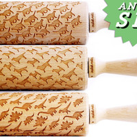 SET OF 3 ANIMAL rolling pin - Embossing rolling pins, laser engraved rolling pins. Cats, dogs, dinosaurs!