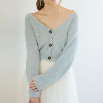 Pippa Eyelash Button Up Cropped Sweater