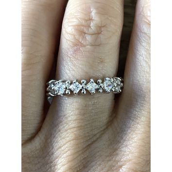 SAMPLE SALE  Princess Cut Russian Lab Diamond Eternity Ring Size 7