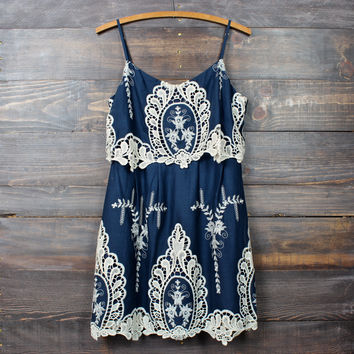 x shophearts - a hint of vintage lace navy & cream dress