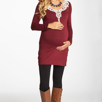 Burgundy-Crochet-Neckline-Fitted-Maternity-Tunic