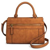 Women's Solid Satchel Faux Leather Handbag with Zipper Pockets - Merona™