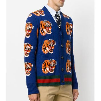 GUCCI Autumn Winter Fashion Casual Tiger Head Jacquard Knit Cardigan Sweatshirt Jacket Coat Sapphire Blue