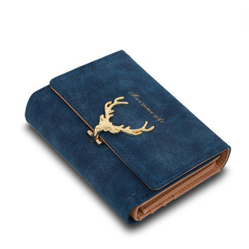 2017 Latest Christmas Deer Women Leather Wallet VintageTri-Folds Luxury Cash  Purse Girl Small Black Clutch coin purses holders