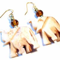 Handmade Jewelry Carved Bone Amber Bead Elephant Dangle Earrings
