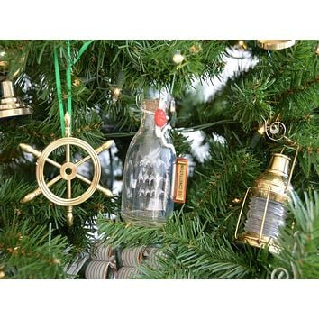 USS Constitution Model Ship in a Glass Bottle Christmas Tree Ornament
