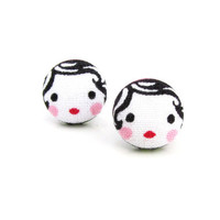 Cute stud earrings - tiny fabric earrings - button earrings - kawaii girl earrings - present for her