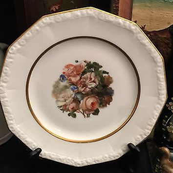 c1920 Hand Painted Porcelain Rosenthal Maria Octagon Gold Rim & Flowers Plate