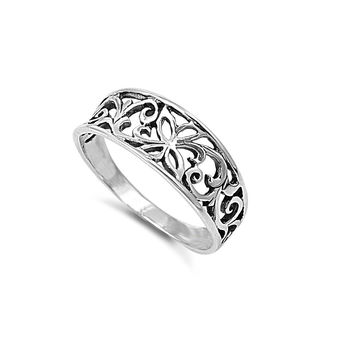 925 Sterling Silver Free Form Open Work Filigree Ring