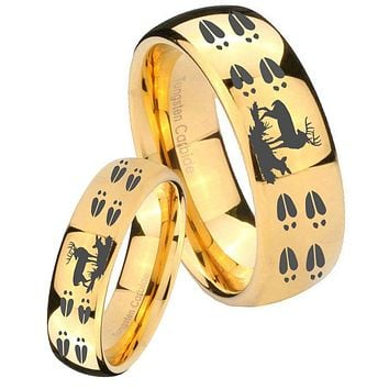His Her Glossy Dome Deer Hunting Tracks 14K Gold IP Tungsten Wedding Rings Set